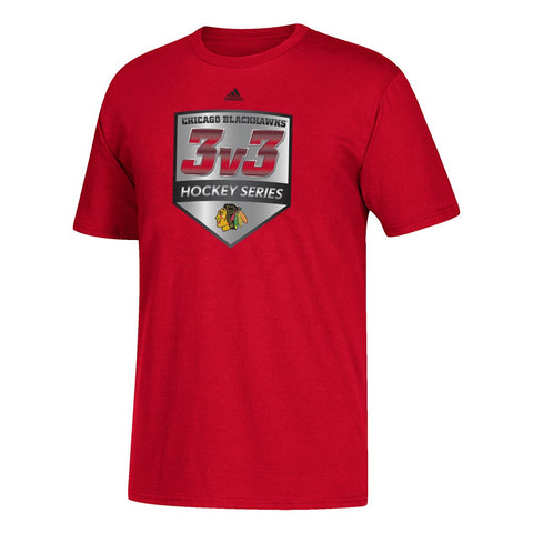 "Chicago Blackhawks NHL Adidas ""3V3"" Hockey Series Men's Red T-Shirt"