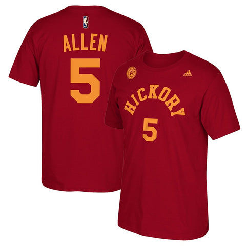Lavoy Allen Indiana Pacers Red 2016-17 Hardwood Classic Retro Name & Num T-Shirt