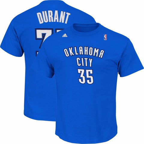Kevin Durant Oklahoma City Thunder NBA Adidas Blue Faux Stitch Player T-Shirt