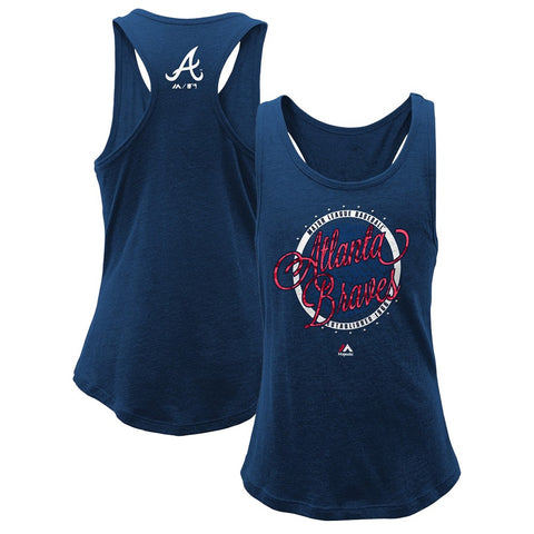 "Atlanta Braves Majestic MLB Girls Youth Navy ""Shine Bright"" Tri-Blend Tank"