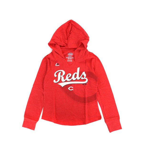 "Cincinnati Reds Majestic MLB Girls Red ""Quick Pitch"" Hooded Long Sleeve T-Shirt"