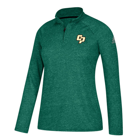 Cal Poly Mustangs NCAA Adidas Women's  Green Ultimate 1/4 Zip Knit