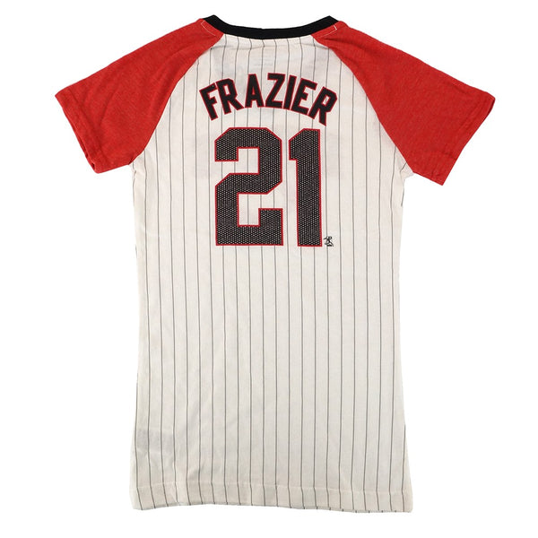 Todd Frazier MLB Cincinnati Reds Raglan Glitter Youth Girls Jersey T-Shirt XS-XL