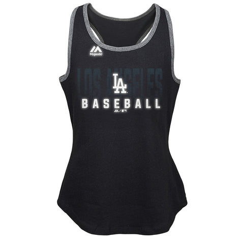 "Los Angeles Dodgers Majestic MLB Girls Black ""Shadow Play"" Graphic Tank"