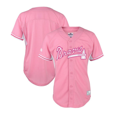 Atlanta Braves Majestic MLB Girls Youth Batting Practice Pink Baseball Jersey