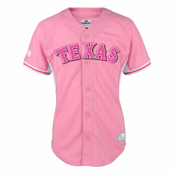 Texas Rangers MLB Majestic Girls Pink Official Batting Practice Fashion Jersey