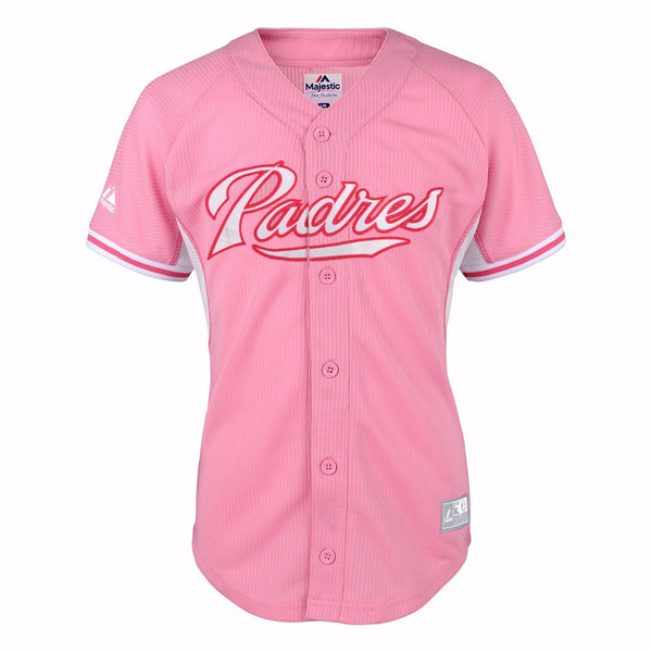 San Diego Padres MLB Majestic Girl's Pink Batting Practice Fashion Jersey