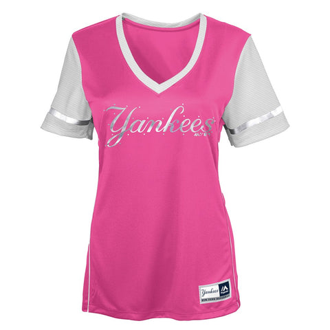 "New York Yankees Majestic MLB Girls Pink ""Curveball Babe"" V-Neck T-Shirt"
