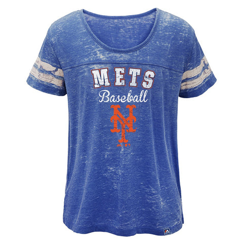 "New York Mets Majestic MLB Girls Blue ""Loving the Game"" Boxy T-Shirt"