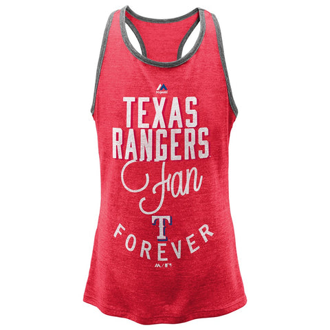 "Texas Rangers Majestic MLB Youth Red ""I'm a Fan Forever"" Racer Tank"