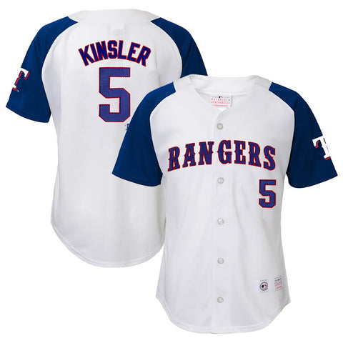 Ian Kinsler MLB Texas Rangers Player White Home Button Down Jersey Youth (XS-XL)