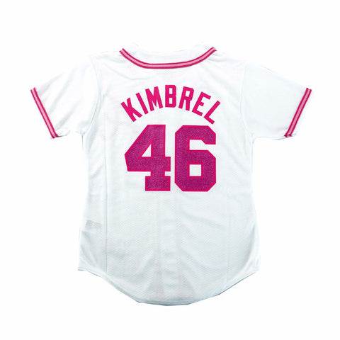 Craig Kimbrel Atlanta Braves MLB Majestic Girl's White Glitter Fashion Jersey