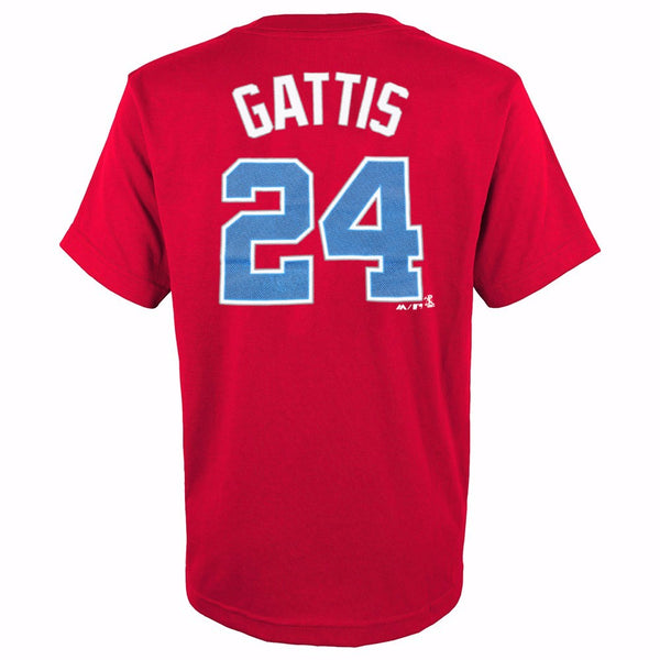 Evan Gattis Atlanta Braves MLB Majestic YOUTH Red Player Jersey T-Shirt