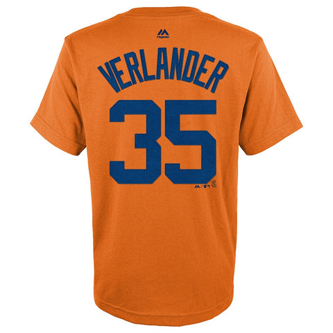 Justin Verlander  MLB Majestic Detroit Tigers Orange Jersey T-Shirt Youth (S-XL)