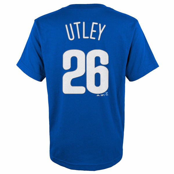 Chase Utley Philadelphia Phillies MLB Majestic YOUTH Blue Player Jersey T-Shirt