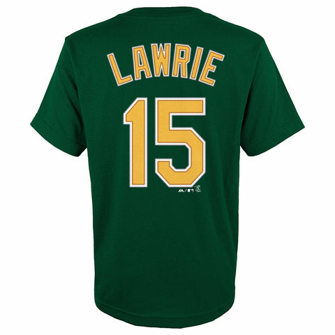 Brett Lawrie Oakland Athletics MLB Majestic YOUTH Green Player Jersey T-Shirt