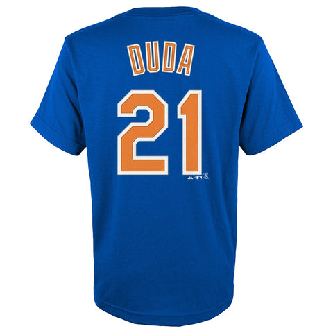 Lucas Duda New York Mets MLB Majestic YOUTH Blue Player Jersey T-Shirt