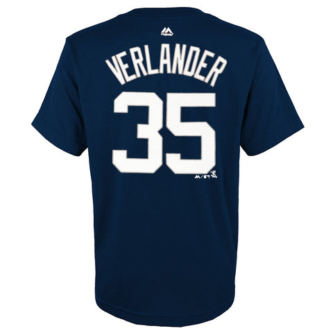 Justin Verlander MLB Majestic Detroit Tigers YOUTH Navy Player Jersey T-Shirt