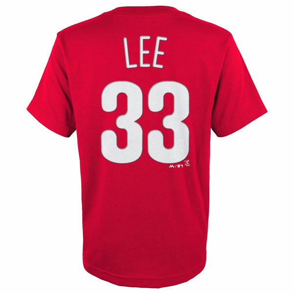 Cliff Lee Philadelphia Phillies MLB Majestic YOUTH Red Player Jersey T-Shirt