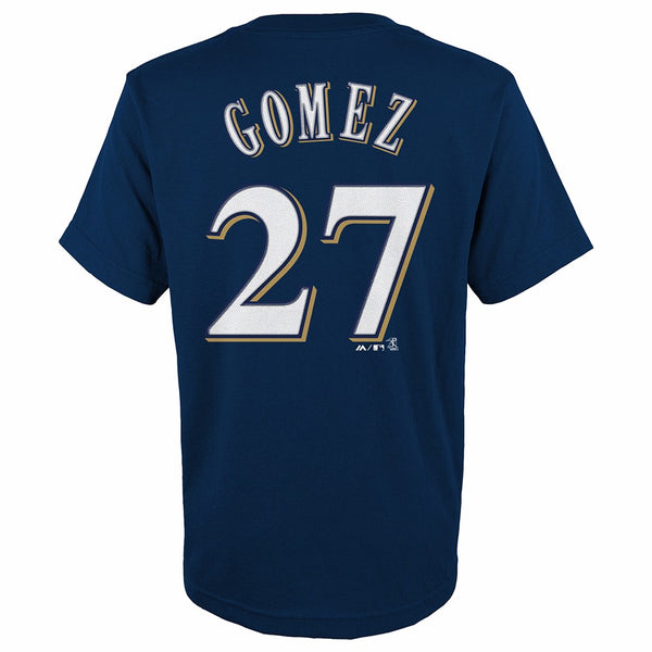 Carlos Gomez Milwaukee Brewers MLB Majestic YOUTH Navy Player Jersey T-Shirt