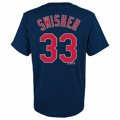 Nick Swisher Cleveland Indians MLB Majestic YOUTH Navy Player Jersey T-Shirt