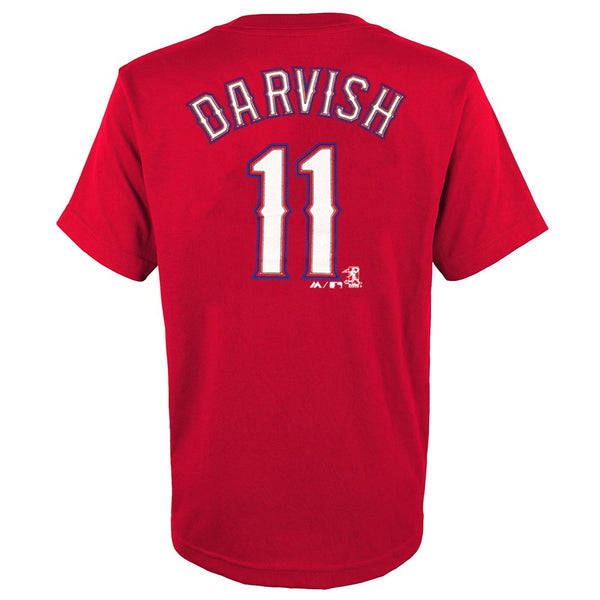 Yu Darvish MLB Majestic Texas Rangers YOUTH Alternate Red Jersey T-Shirt