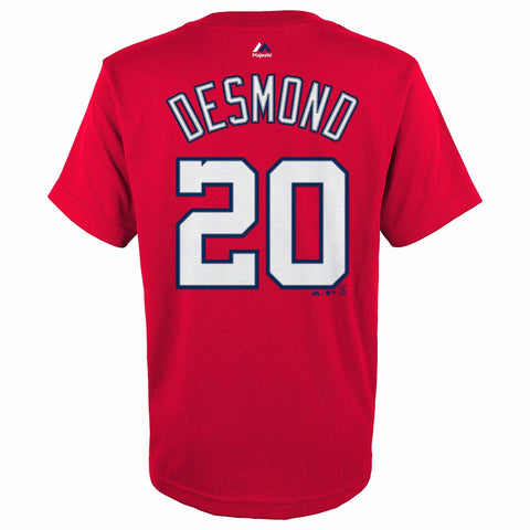 Ian Desmond Washington Nationals MLB Majestic YOUTH Red Player Jersey T-Shirt