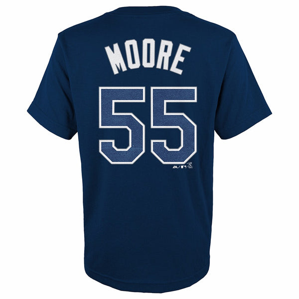 Matt Moore Tampa Bay Rays MLB Majestic YOUTH Navy Blue Player Jersey T-Shirt