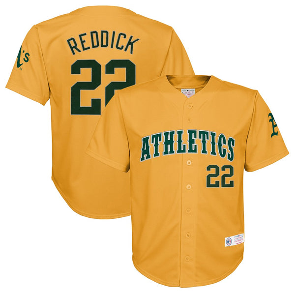 Josh Reddick MLB Oakland Athletics Player Gold Button Down Jersey Youth (XS-2XL)
