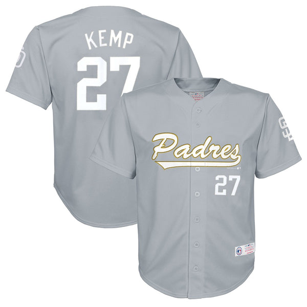 Matt Kemp MLB San Diego Padres Grey Button Down Player Jersey Youth (XS-2XL)