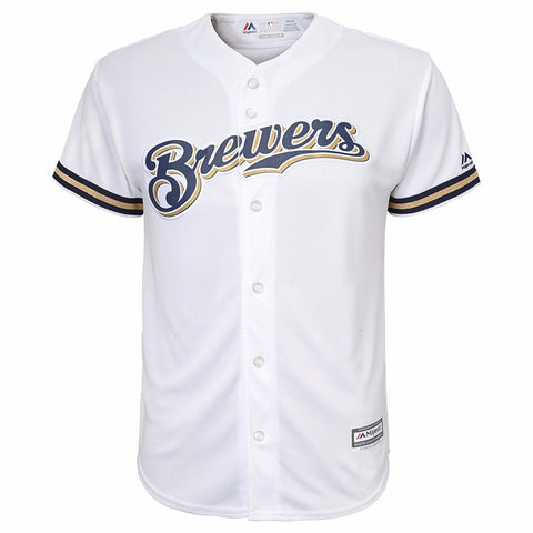 Jonathan Lucroy Milwaukee Brewers MLB Majestic YOUTH White Home Cool Base Jersey