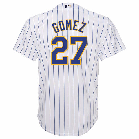 Carlos Gomez Milwaukee Brewers MLB Majestic YOUTH White Alt Cool Base Jersey