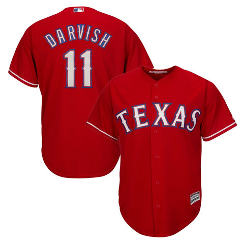 Yu Darvish MLB Majestic Texas Rangers Cool Base Alt Red Jersey Youth (S-XL)