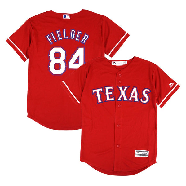 Prince Fielder MLB Majestic Texas Rangers Cool Base Alt Red Jersey Youth (S-XL)