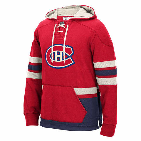 Montreal Canadiens Retro Lace Em Up Pullover NHL Team Applique Hoodie Men's
