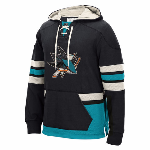 "San Jose Sharks CCM ""Lace Em Up"" Vintage Pullover Jersey Hoodie Fleece Men's"