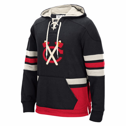 Chicago Blackhawks Retro Lace Em Up Pullover NHL Team Applique Hoodie Men's