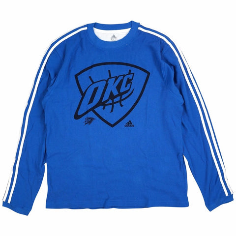 Oklahoma City Thunder NBA Men's Blue 3-Stripe Thermal Zone Shirt