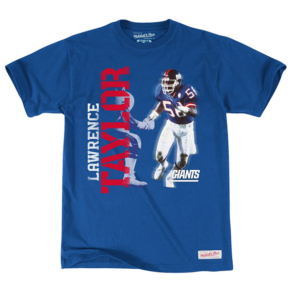 Lawrence Taylor New York Giants NFL M&N Blue Retired Player Vintage Photo Shirt