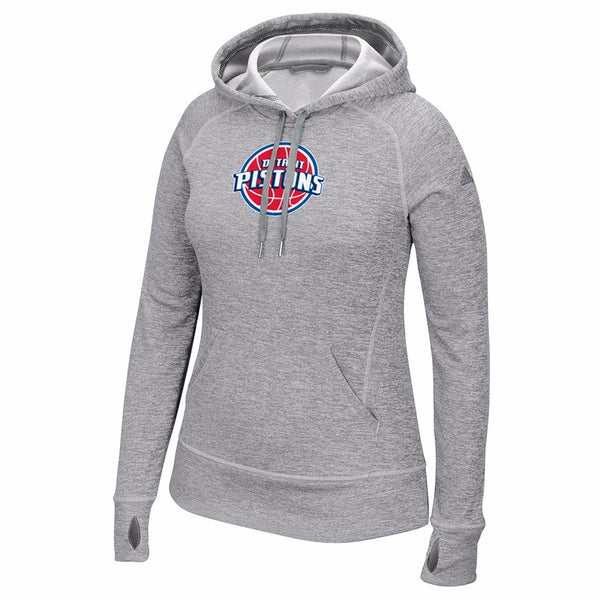 Detroit Pistons NBA Women's Grey Team Issued Climawarm Pullover Team Logo Hoodie