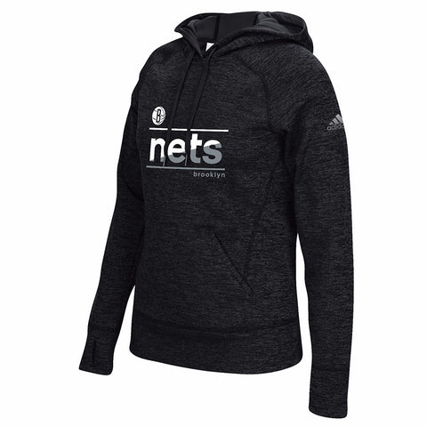 Brooklyn Nets NBA Women's Black Color Slant Climawarm Pullover Hoodie
