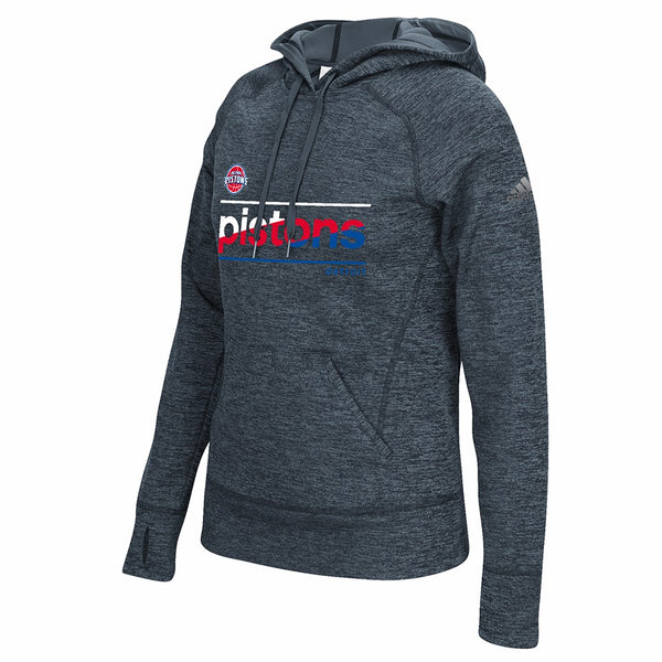 Detroit Pistons NBA Women's Grey Color Slant Climawarm Pullover Hoodie