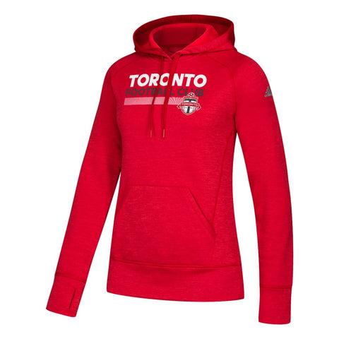 Toronto FC MLS Adidas Women's Red ClimaWarm Team Issue Pattern Bar Hoodie