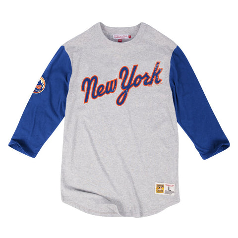 New York Mets MLB Mitchell & Ness Grey Scoring Position Vintage 3/4 Sleeve Shirt