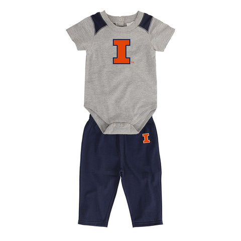 "Illinois Fighting Illini NCAA Grey ""Ellipse"" Creeper & Pants Set Newborn (3M-9M)"
