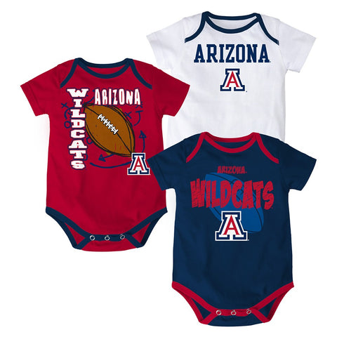 Arizona Wildcats NCAA Newborn Red/Navy/White 3 Point Spread 3 Piece Creeper Set