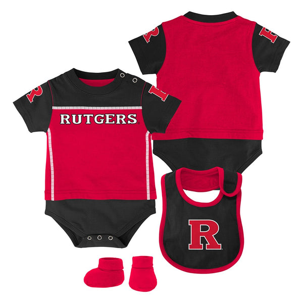 "Rutgers Scarlet Knights NCAA Newborn Red ""Lil Jersey"" Creeper, Bib & Bootie Set"