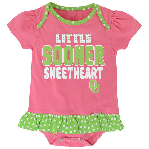 "Oklahoma Sooners NCAA Newborn Pink ""Little Sweet"" Creeper, Bib & Bootie Set"