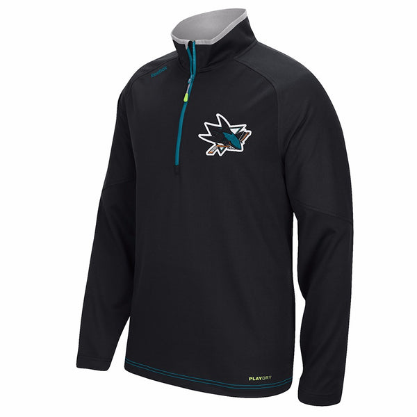 San Jose Sharks NHL Reebok Black Center Ice 1/4 Zip PlayDry Tech Fleece Jacket