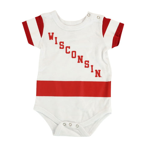"Wisconsin Badgers NCAA Outerstuff Newborn White ""Hockey Jersey"" Creeper"